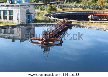 Rotating biological contactors are mechanical secondary treatment systems - stock photo