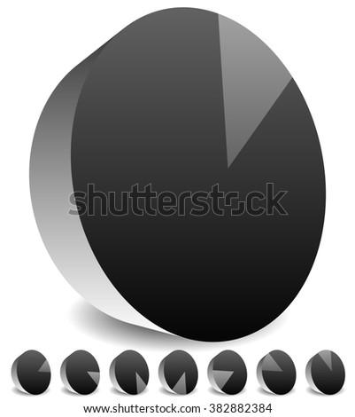 Rotating empty radar screen or sonar display. Segmented circles with thin slices. - stock photo