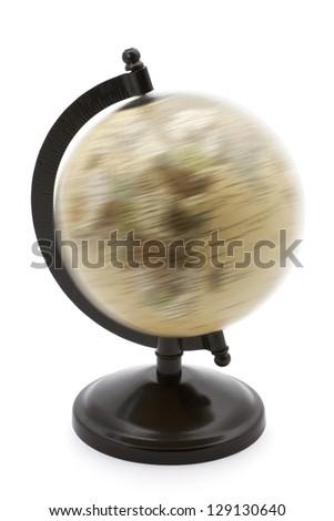 Rotating globe on a white background - stock photo