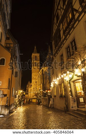 ROTHENBURG OB DER TAUBER, GERMANY - DECEMBER 22, 2012: Street View of Rothenburg ob der Tauber at the evening. It is well known medieval old town, a destination for tourists from around the world. - stock photo