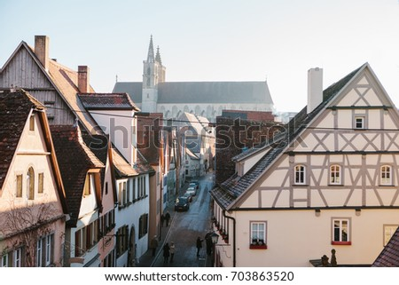 Rothenburg ob der Tauber, Germany, December 30, 2016: View of a beautiful street with traditional German houses. Europe.