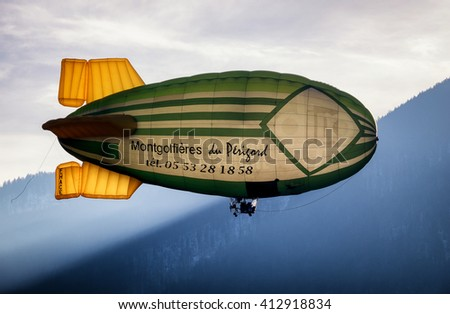 ROTTACH, GERMANY - FEB 27: blimp (hot air airship) starting at the european alps on feb 27, 2016 in rottach, germany - stock photo