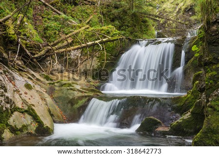 Rottach waterfall near Enterrottach at lake Tegernsee, Rottach-Egern, Bavaria, Germany