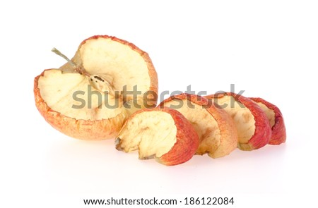 Rotten apple halves on white background