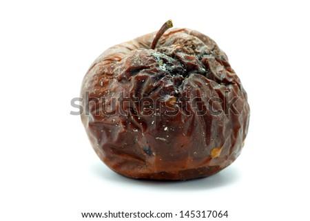 Rotten apple. Isolated on white. - stock photo