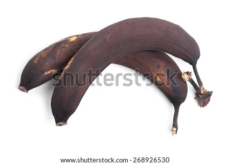 Rotten banana isolated on white background - stock photo