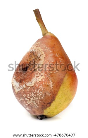 rotten pear isolated on a white background closeup
