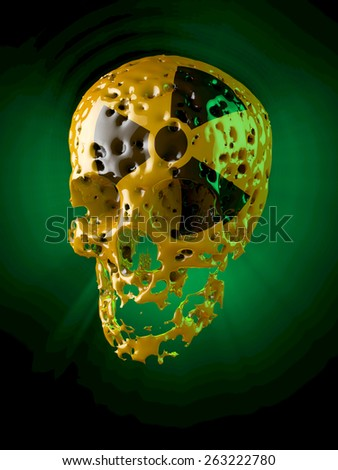 Rotten, yellow lacquered skull with black radioactive sign, green glowing illumination - stock photo