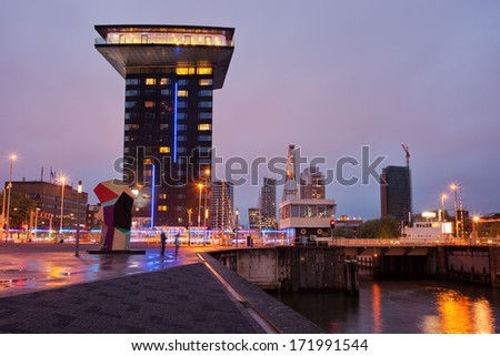 Rotterdam city centre in the evening Nieuwe Leuvebrug on the right, South Holland, the Netherlands. - stock photo