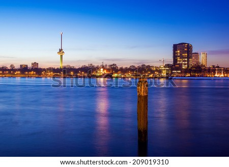 Rotterdam Euromast Tower at Twilight, The Netherlands - stock photo