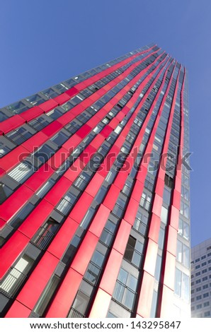 ROTTERDAM - FEB 17: Modern residential tower on feb 17, 2013 in Rotterdam. Named 'the red apple', designed by KCAP architects and Jan des Bouvrie (interior), the building is 120 meter with 39 floors.