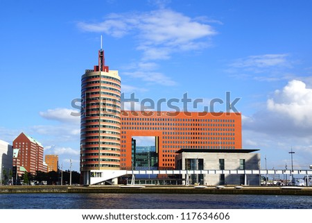ROTTERDAM, HOLLAND - AUGUST 02: Panoramic view over Wilhelminahof and Maas Tower. Wilhelminahof includes four office buildings a new Palace of Justice; August 02, 2012 in Rotterdam, Holland.