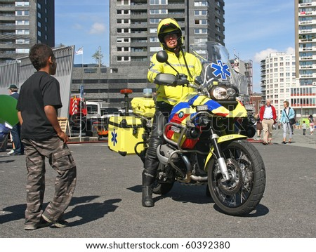 ROTTERDAM, HOLLAND - SEPTEMBER 5: Medic on motorbike at the annual World Harbor Days in Rotterdam, Holland on September 5, 2010