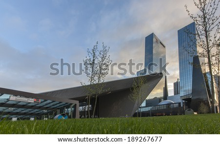 ROTTERDAM, NETHERLANDS - APRIL 15: City skyline and construction of Rotterdam Central Station, an important transport hub with 110000 passengers per day on April 15, 2014 in Rotterdam, Holland