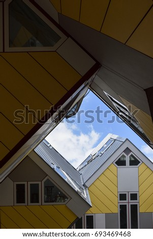 "Rotterdam, Netherlands - August 9, 2017 Cube houses are a set of innovative houses built in Rotterdam, designed by architect Piet Blom and based on the concept of ""living as an urban roof""."
