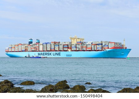 ROTTERDAM,NETHERLANDS-AUGUST 16: The world biggest container ship , the Maersk Mc-Kinney Moller , sailing for the first time into the harbor of Rotterdam Netherlands on august 16, 2013  - stock photo