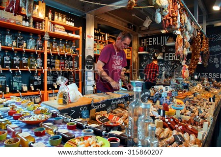 "ROTTERDAM - NETHERLANDS ; ""Heerlijk en eerlijk "" is one of the many delicatessen shops at the famous Markethal of Rotterdam on 12 september 2015"