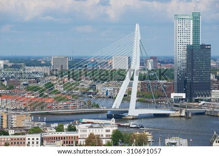 ROTTERDAM, NETHERLANDS - JUNE 02, 2013: Aerial view to Erasmus bridge and the city of Rotterdam, Netherlands.