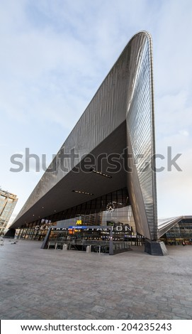 ROTTERDAM, NETHERLANDS - MARCH 25: City skyline and construction of Rotterdam Central Station, an important transport hub with 110000 passengers per day on March 25, 2014 in Rotterdam, Holland