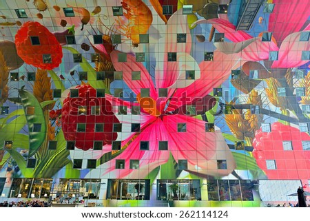 ROTTERDAM, NETHERLANDS- March 14, 2015: view of the new artistic Markthal in Rotterdam, Netherlands, March 14, 2015 - stock photo