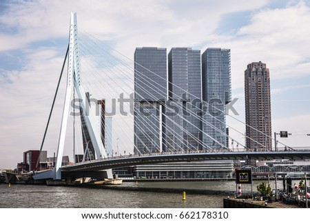 ROTTERDAM, NETHERLANDS - MAY 17, 2017: Modern buildings city architecture close-up design elements at day time. May 17, 2017 in Rotterdam - Netherlands.