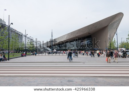 Rotterdam, Netherlands - May 21, 2016: Temporary big stairs to Groothandelsgebouw next to Centraal station