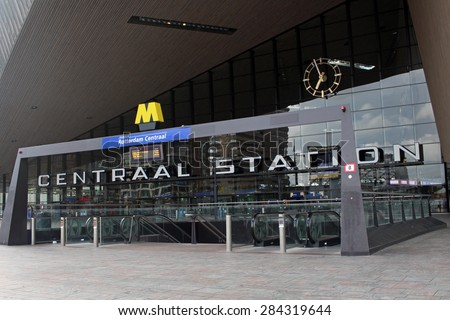 ROTTERDAM, NETHERLANDS - May 9, 2015: The New Rotterdam Central Station, the contemporary entrance of the Rotterdam Centraal. The new building was opened in March 2014. - stock photo