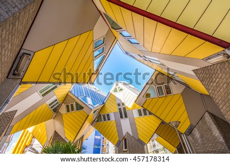 ROTTERDAM, NETHERLANDS - 8 November, 2014 : Cube houses or Kubuswoningen in Dutch are a set of innovative houses designed by architect Piet Blom and built in Rotterdam, the Netherlands. - stock photo