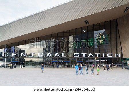 ROTTERDAM, NETHERLANDS - NOVEMBER 08: View at the contemporary entrance of the Rotterdam Centraal - the railway station, Netherlands on Nov 08, 2014. New building was officialy opened in March 2014.