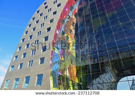 ROTTERDAM, NETHERLANDS- NOVEMBER 22, 2014: view of the new artistic market hall in Rotterdam, Netherlands, november 22, 2014 - stock photo