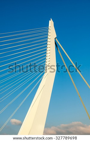 ROTTERDAM, NETHERLANDS - SEP 20, 2005: Detail of the asymmetrical pylon of the Erasmus Bridge 'The Swan' in the city of Rotterdam, the Netherlands - stock photo