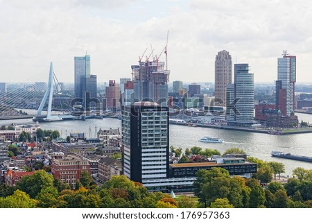 ROTTERDAM, NETHERLANDS - SEPT 28,2012. City views Rotterdam. The population of the city of 617347 inhabitants, it is second for number of inhabitants city in Netherlands