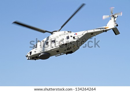 ROTTERDAM, NETHERLANDS - SEPTEMBER 09: Army helicopter is flying during the world harbor days on 9 september 2012 Rotterdam the Netherlands