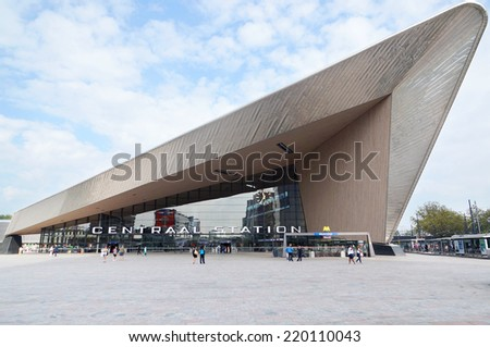 Rotterdam, Netherlands - September, 16: Rotterdam Centraal railway station on September 16, 2014. The new station building was officially opened on March 13, 2014.