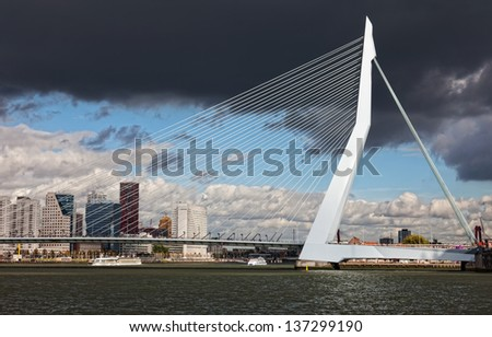 ROTTERDAM, NETHERLANDS - SEPTEMBER 28: View on Erasmus Bridge . Erasmus Bridge is one of the icons of Rotterdam on September 28, 2012 in Rotterdam, The Netherlands - stock photo