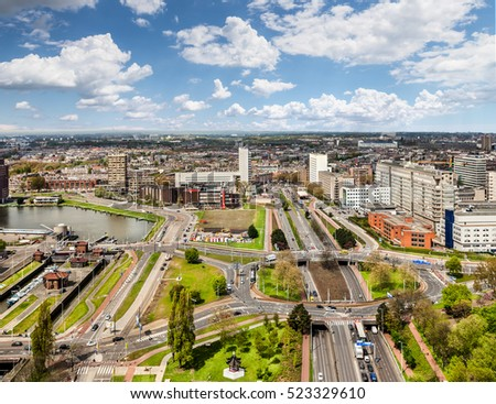 Rotterdam, Nethherlands - May 1, 2012: Aerial view of Rotterdam with roads and modern houses, Netherlands