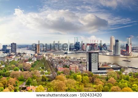 Rotterdam panorama in the Netherlands, Europe - stock photo