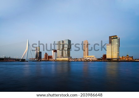 Rotterdam Skyline at Sunset, The Netherlands - stock photo