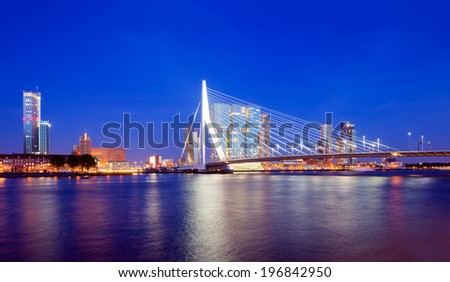 Rotterdam Skyline at Twilight, The Netherlands - stock photo