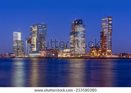 Rotterdam Skyline at Twilight, The Netherlands. - stock photo