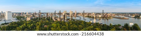 Rotterdam skyline panorama from the Euromast tower, The Netherlands - stock photo
