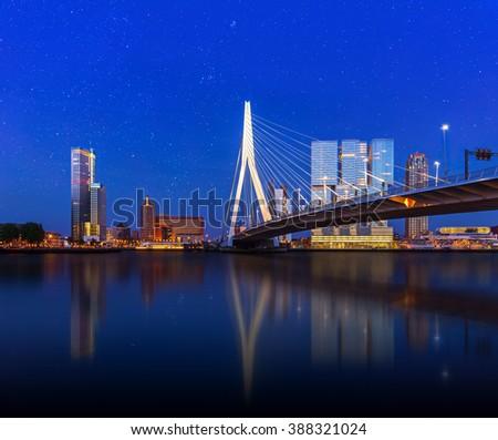 Rotterdam Skyline with Erasmus Bridge at Twilight, Zuid Holland, The Netherlands - stock photo