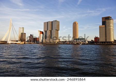 Rotterdam skyline with Erasmus Bridge. Rotterdam, South Holland, Netherlands. - stock photo