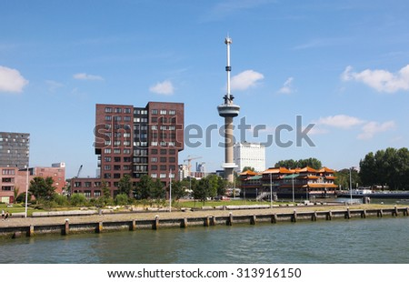 ROTTERDAM, THE NETHERLANDS - AUGUST 9, 2015: View on the Euromast Tower by the Nieuwe Maas in Rotterdam, South Holland, The Netherlands. - stock photo