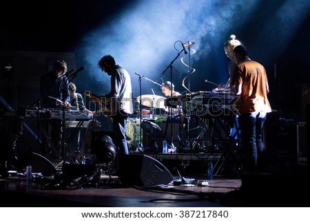 Rotterdam, the Netherlands - February 27, 2016: Markus Acher of German indie rock band the Notwist performs live on stage at Crosslinx Festival at The Doelen Music Hall