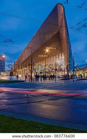 ROTTERDAM, THE NETHERLANDS, January 9th, 2016, Rotterdam Central Station entrance during evening seen from outside.