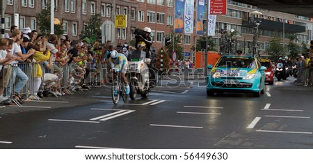 ROTTERDAM, THE NETHERLANDS - JULY 3: Alberto Contador Velasco on his way to a sixth position in the 2010 Tour de France prologue time trial. July 3, 2010 in Rotterdam, The Netherlands