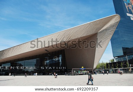 ROTTERDAM, THE NETHERLANDS - July 2017: the current central station building, located at Station Square, was officially opened in March 2014.