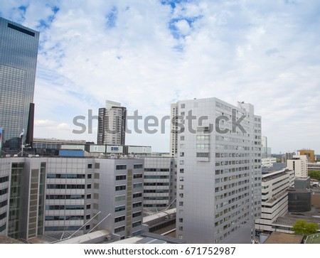 ROTTERDAM, THE NETHERLANDS - June 11, 2017: View at skyline of Rotterdam, The Netherlands