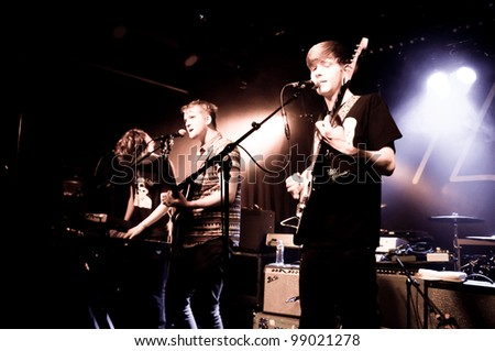 ROTTERDAM, THE NETHERLANDS - MARCH 31: Dog Is Dead performing in the club Rotown on March 31, 2012 in Rotterdam, The Netherlands - stock photo